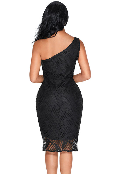 Her Fashion Navy Laser Cut One Shoulder Stunning Party Dress