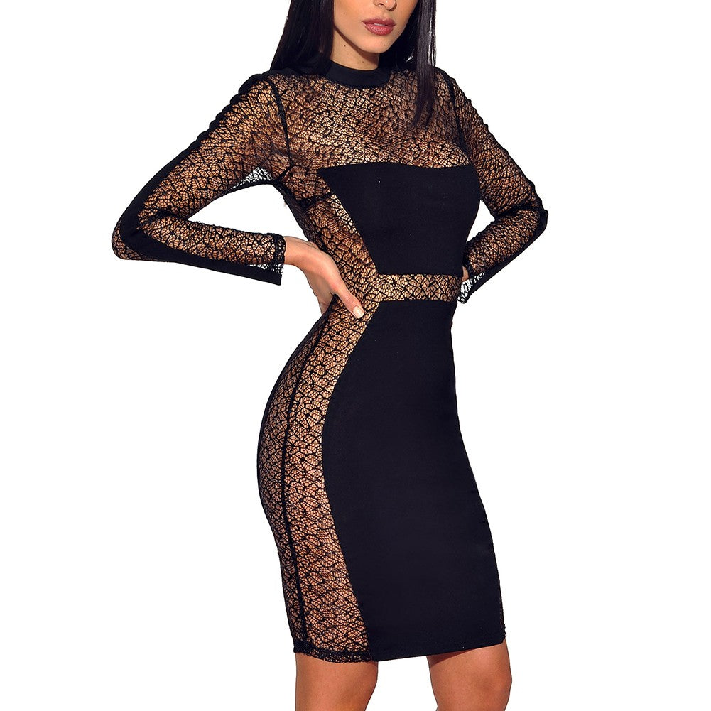 Her Fashion Black Longsleeve Mini Mesh See-Through Sexy Bandage Dress