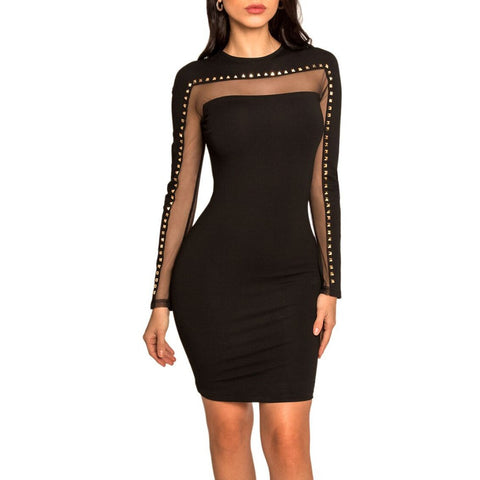 Her Fashion Black Longsleeve Mini Metal Studded Mesh Party Bandage Dress