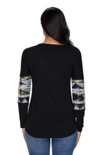 Her Fashion Black Loose Sequin Christmas Festive Women Top