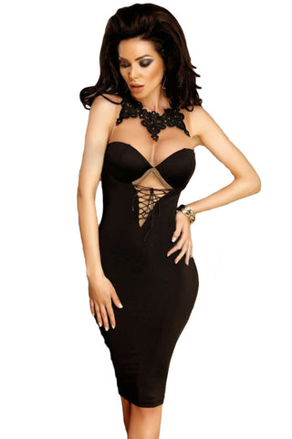 Her Fashion Black Premium Embellished Lace Mesh Bodycon Dress