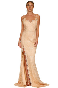 Her Fashion Nude Scalloped Lace Glamorous Bridal Wedding Party Gown