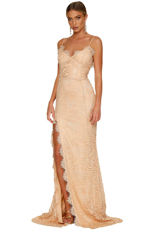 Her Fashion Rosy Scalloped Lace Glamorous Bridal Wedding Party Gown