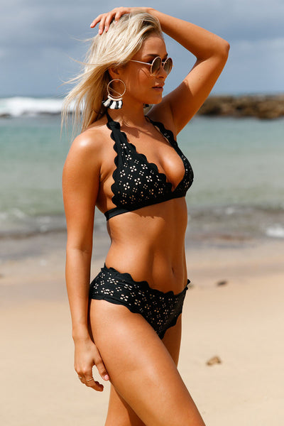 Her Fashion Black Scalloped Laser Hollow Out Halter Bikini Swimsuit