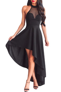 Her Fashion Black Sheer Mesh Decolletage Hi-low Stunning Party Dress