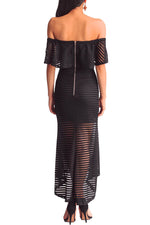 Her Fashion Black Sheer Mesh Striped Overlay Slinky Party Dress