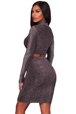 Her Fashion Black Silver Shimmer Two Piece Stunning Women Dress