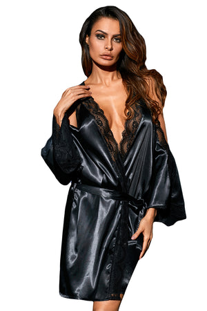 Her Fashion Red Sleek Lingerie Satin Lace Robe
