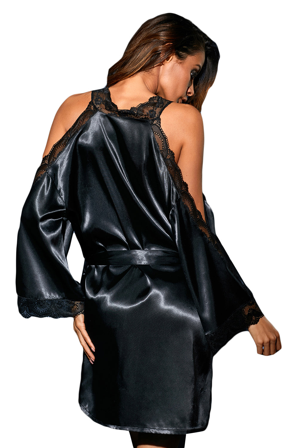 Her Fashion Black Sleek Lingerie Satin Lace Robe