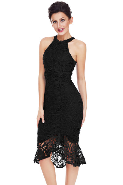 Her Fashion Black Sleeveless Floral Lace Fishtail Bodycon Women Dress