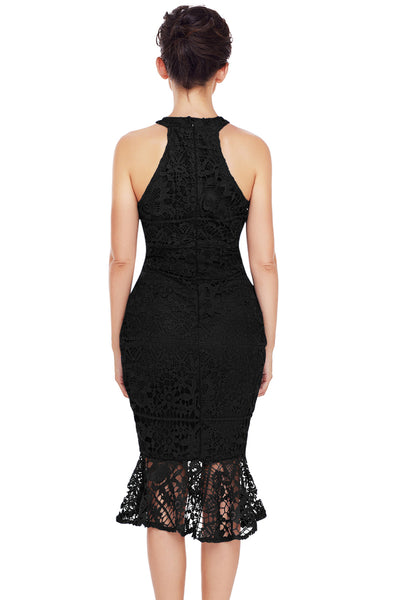Her Fashion Navy Sleeveless Floral Lace Fishtail Bodycon Women Dress