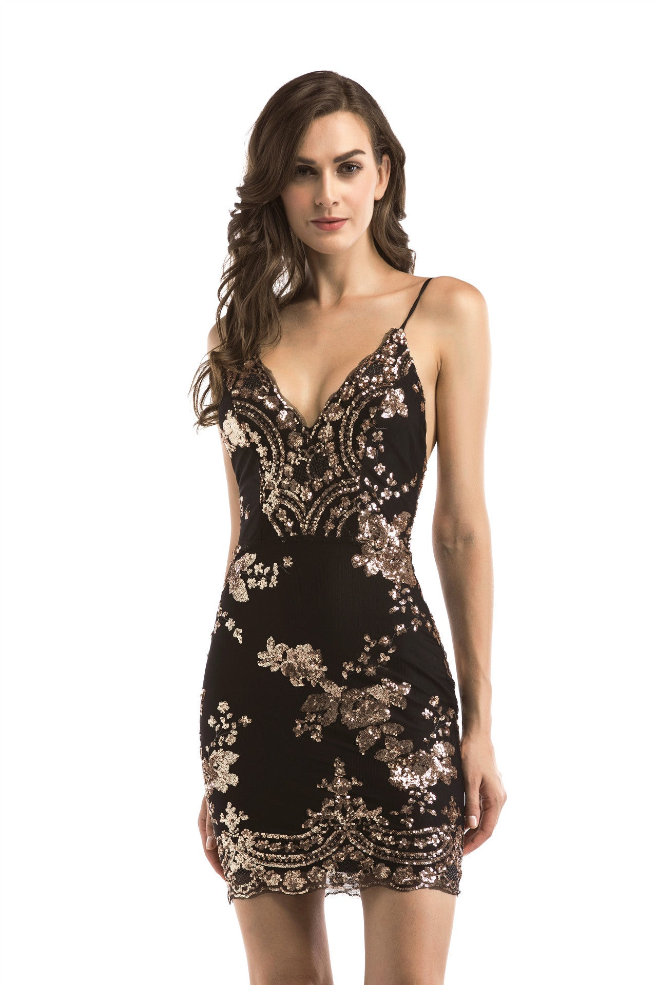 Her Fashion Black Spaghetti Strap Backless Sequins Slim Party Dress