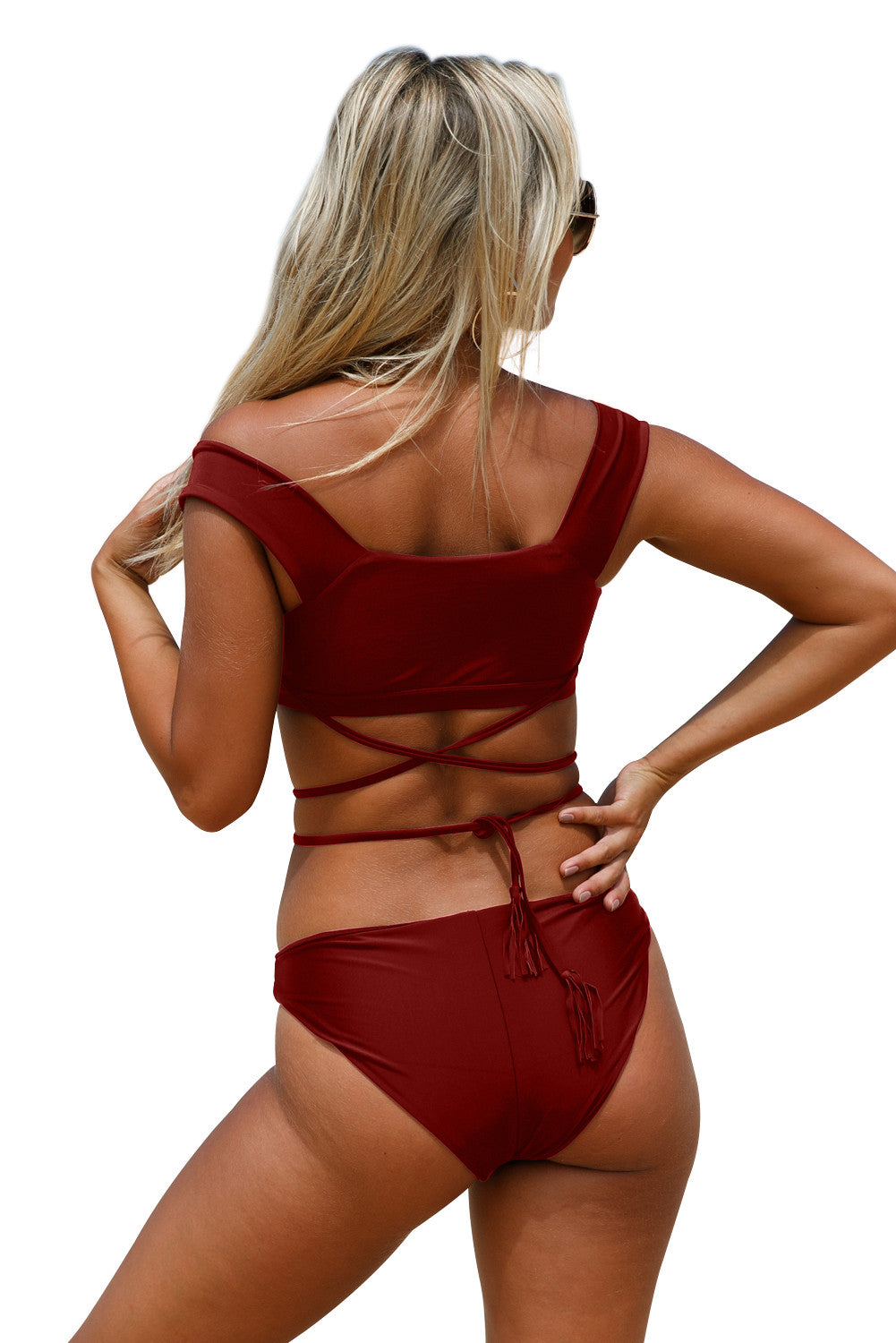 Her Fashion Burgundy Strappy Crisscross Trendy Tankini Swimsuit