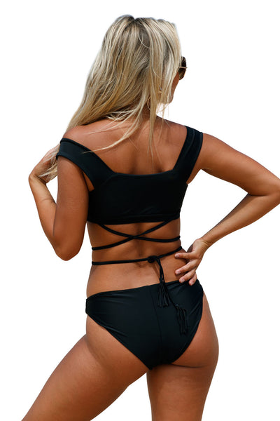 Her Fashion Black Strappy Crisscross Trendy Tankini Swimsuit