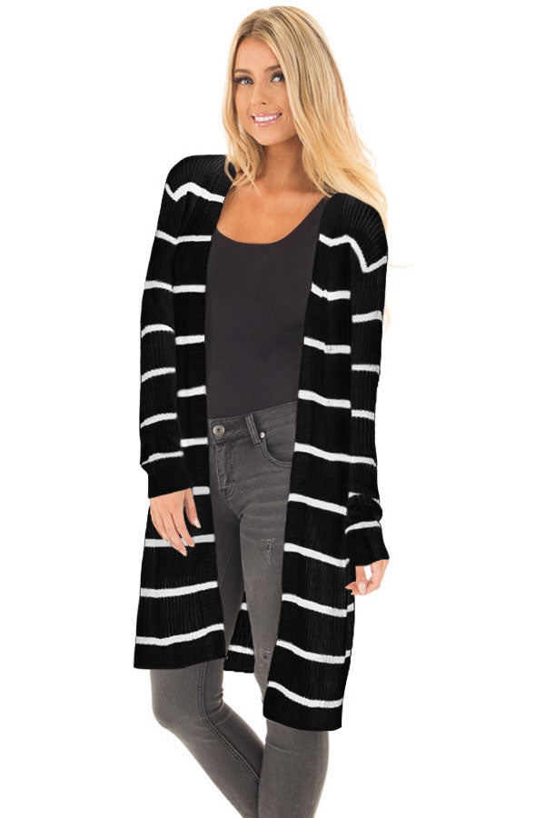 Her Fashion Grey Striped Ribbed Chic and Timeless Cardigan