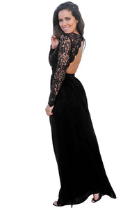 Her Fashion Black Stunning Open Back V-neckline Crochet Maxi Party Dress