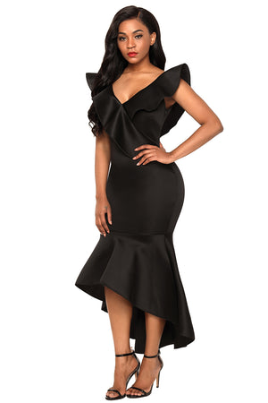 Her Fashion Black Stylish Mermaid Hi-Lo Hemline Maxi Party Dress