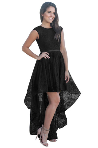 Her Fashion Black Sweetheart Cutout Back Lace Party Hi-low Dress