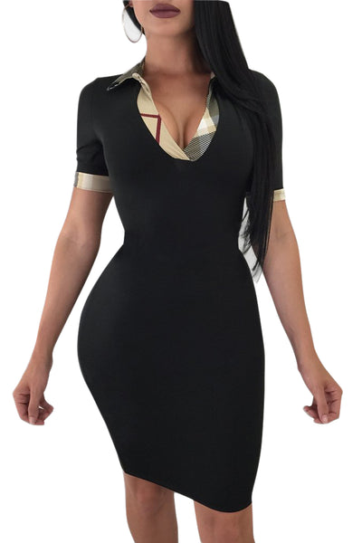 4834628f1d11 Her Fashion Black Turndown Collar Short Sleeves Trendy Bodycon Dress ...