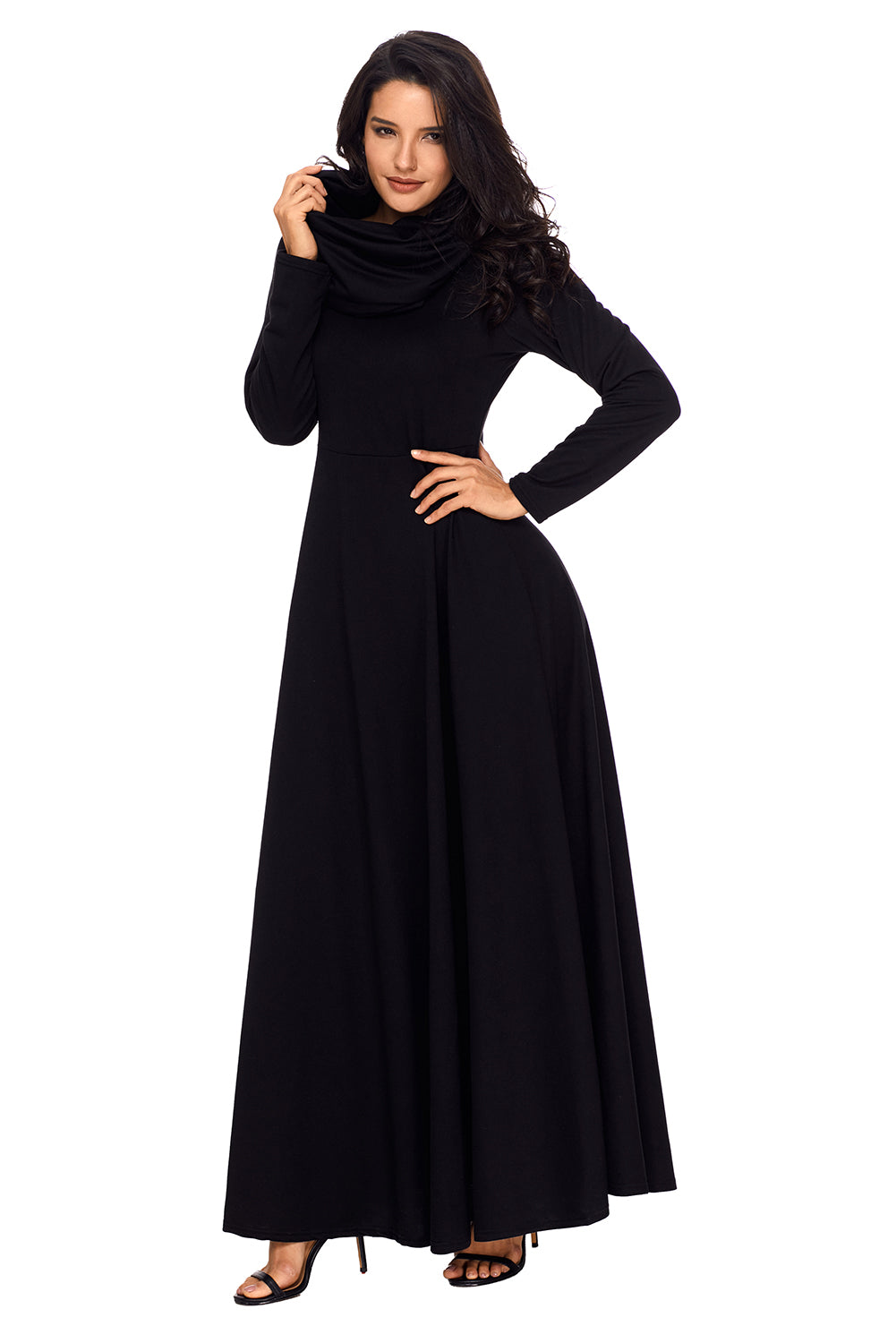 Her Fashion Black Turtleneck Neck Long Sleeve Trendy Maxi Dress