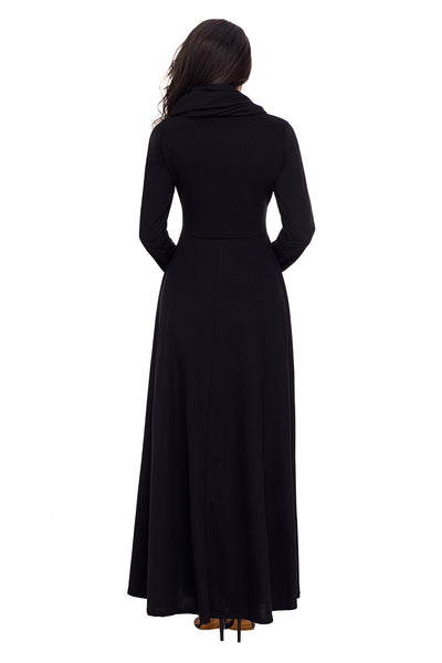Her Fashion Green Turtleneck Neck Long Sleeve Trendy Maxi Dress