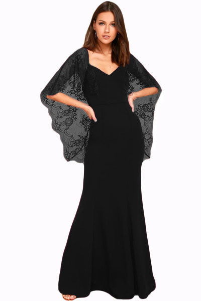 Her Fashion Black V Cut Back Lace Cape Sleeve Maxi Evening Dress