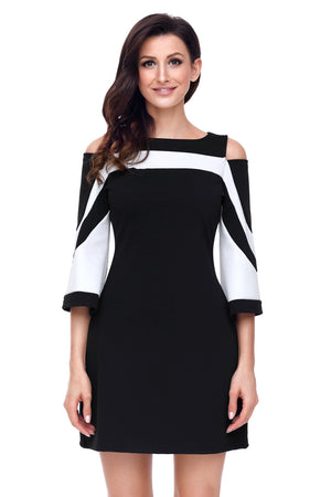 Her Fashion Black White Colorblock Flare Sleeves Mini Dress