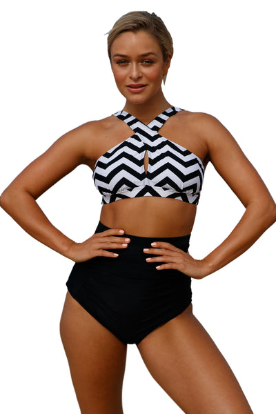15020802e6e62 Her Fashion Black White Zigzag Cross Front Bikini High Waist Swimsuit