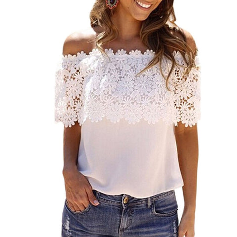 Her Fashion  Blouse White Lace Spliced Off Shoulder Trendy Chiffon Top