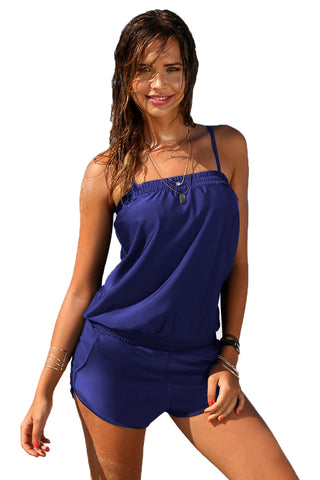Her Fashion Blouson Blue Casual Romper Style One-Piece Swimsuit