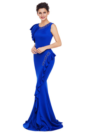 Her Fashion Royal Blue Asymmetric Pleats Trendy Long Prom Party Dress