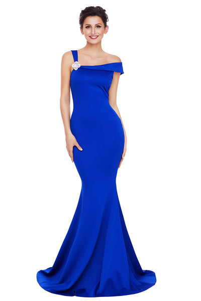 aa822243c8e Her Fashion Royal Blue Asymmetric Shoulder Design Elegant Mermaid Gown