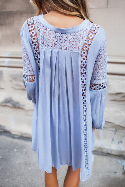 Her Fashion Blue Crochet Lace Trim Relaxed Long Sleeve Tunic Boho Top