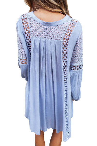 Her Fashion Blue Crochet Lace Trim Relaxed Long Sleeve Tunic Boho Top -6249