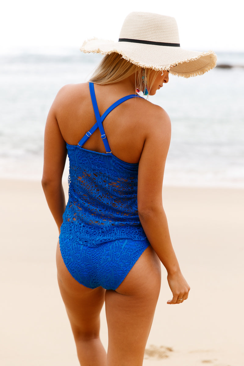 Her Fashion Blue Grommet Lace Crochet 2pcs Trendy Tankini Swimsuit