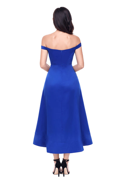 Her Fashion Blue High-shine Trendy Party Evening Dress
