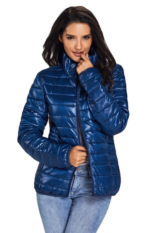 Her Fashion Blue High Neck Quilted Cotton Women Jacket
