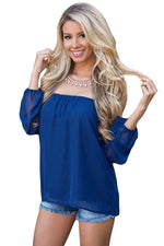 Her Fashion Blue Off The Shoulder Blouse