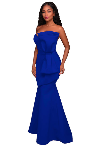 Her Fashion Rosy Oversized Bow Applique Stunning Evening Party Gown