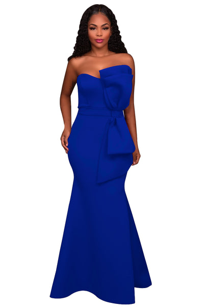 Her Fashion Blue Oversized Bow Applique Stunning Evening Party Gown