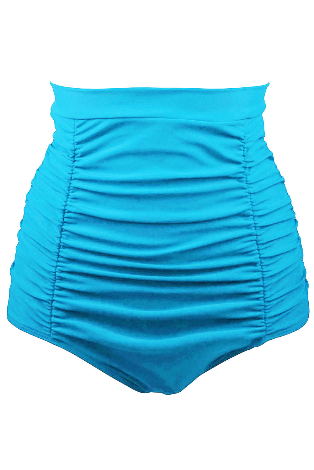 Her Fashion Blue Retro High Waisted Beach Style Swim Short