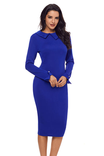 Her Fashion Blue Lapel Neck Bodycon Formal Women Pencil Dress