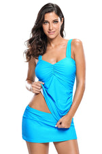 Her Fashion Blue Solid Ruched 2pcs Tankini Skirted Trendy Swimsuit