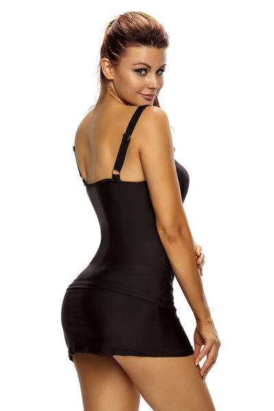 Her Fashion Black Solid Ruched 2pcs Tankini Skirted Trendy Swimsuit