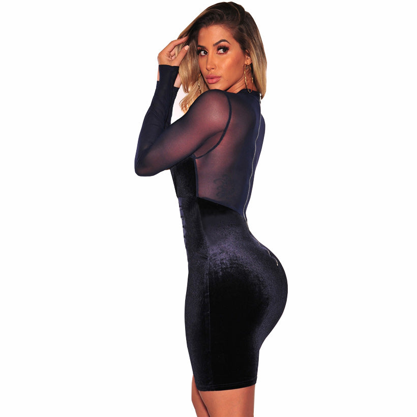 Her Fashion Blue Velvet Midi Pencil Bandage Women Bodycon Dress
