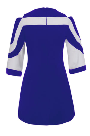 Her Fashion Royal Blue White Colorblock Flare Sleeves Mini Dress