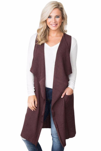 Her Fashion Black Chic Look Pocket Long Women Cardigan Vest