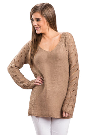 Her Fashion Blush Open Knit Sleeve Cutout V Neck Sweater
