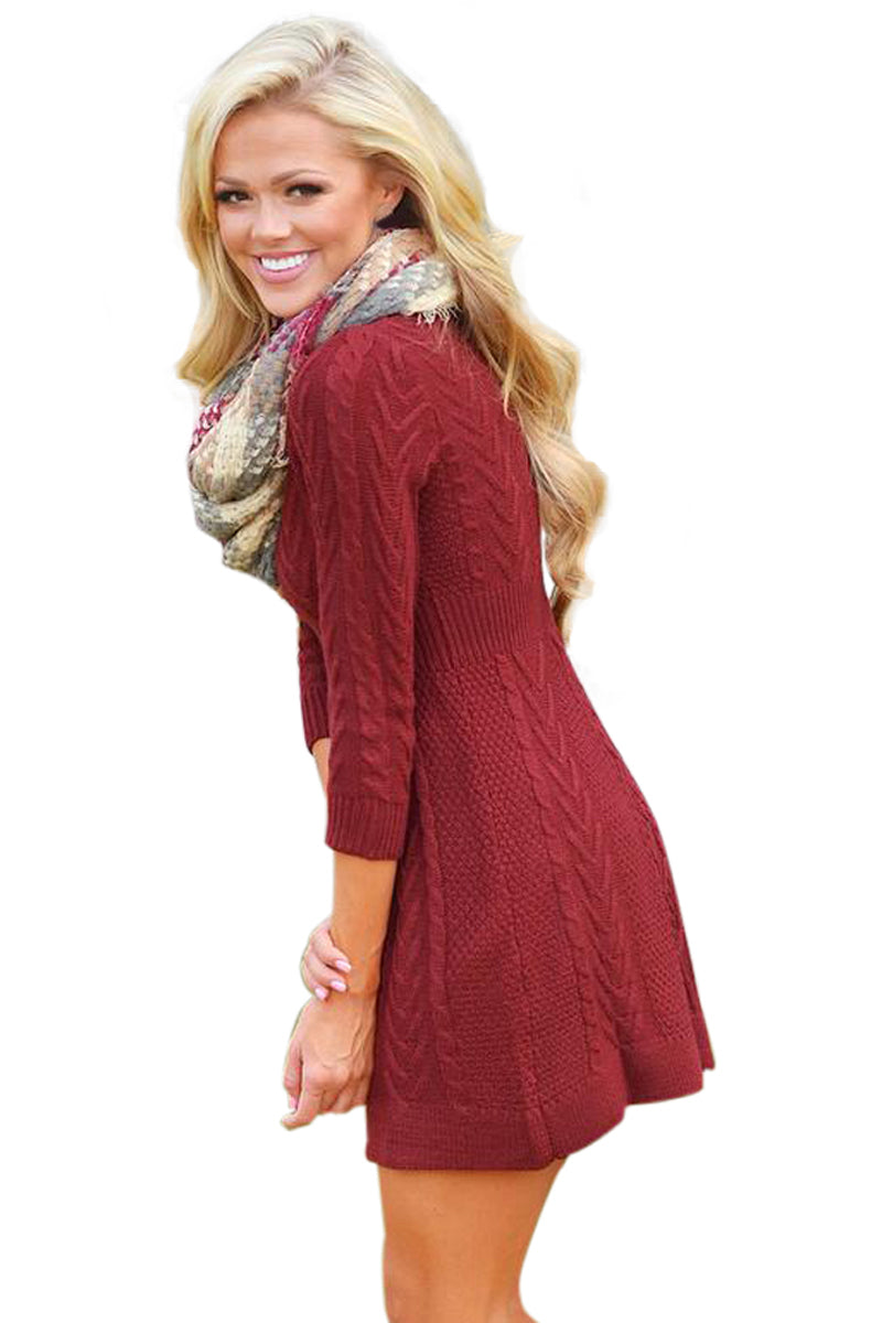 Her Fashion Brown Cable Knit Fitted 3/4 Sleeve Trendy Sweater Dress