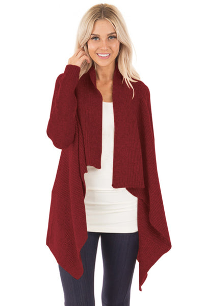 6cbed96b57 Her Fashion Burgundy Chic Waterfall Long Sleeve Sweater Cardigan –  HisandHerFashion.com